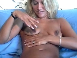 Blonde wife rubbing her shaven clit