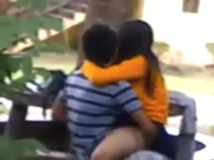 Indian couple public sex on bench