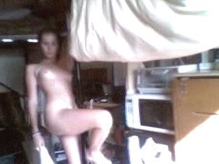 Playful bimbo fools naked