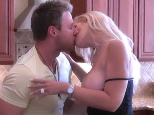 Hot fucking at the kitchen with busty blonde milf and her neighbourhood lover
