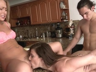 Stepmom and step daughter threesome