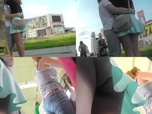 Bubble ass under mini skirt in hot upskirt video
