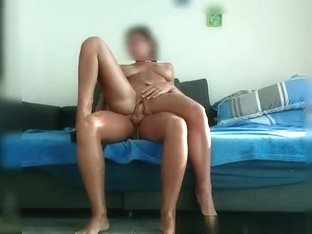 Shaved busty wife rides cock