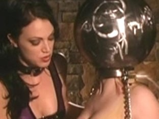 Sexy golden-haired receives fastened and teased in latex