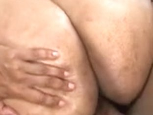 Ebony bitch with flabby tits oiled up and fucked
