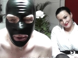 Neat domina mistress having fun with her serf