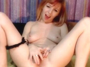 Hot Redhead Babe Fingering her Tight Cunt