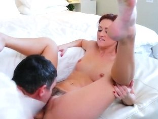 Redheaded chick Karlie Montana is banged hard by her bf's son Mick Blue