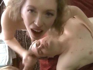 Cuck receives sex cream on his face