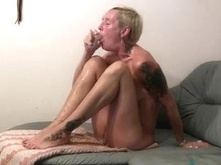 I'm sucking a thick dildo in amateur mature video