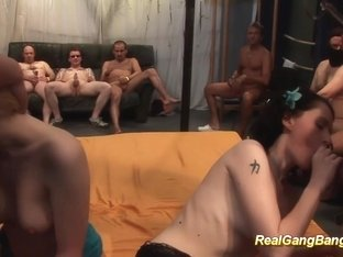 hot babes in real gangbang orgy