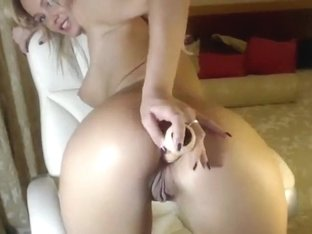 Pretty blonde MilenaXXL fucks ass rubber dildo