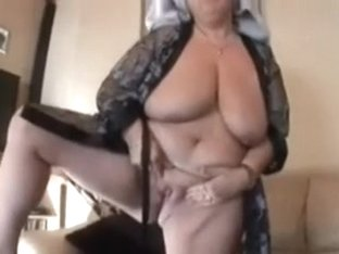 My lustful dark-haired wife rubs her cunt after shower
