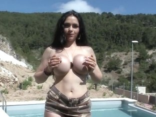 Busty and hot babe Marta La Croft naughty and naked posing outdoors