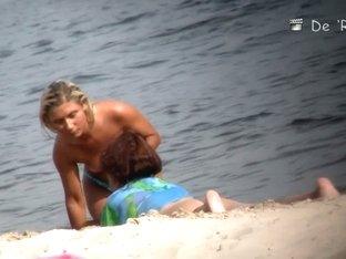 Public beach topless blonde voyeur video