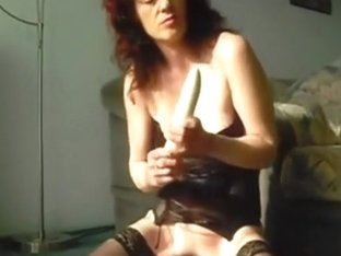 Playgirl in stockings has a toy