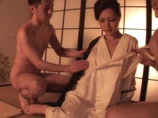 Classy Japanese lady Hazuki Miria mouth loaded with jizz
