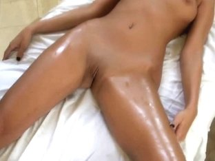 Breasty Brunette Hair Oily Massage