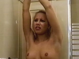 Smokin' hawt playgirl fastened in the shower and overspread with soap