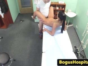 Gorgeous euro nurse collects patients spunk