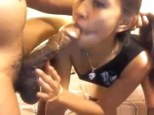 Dick is too big for her asian throat, but she keeps trying.