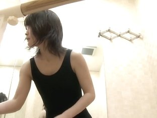 Girl changing in changing room has nice small titties