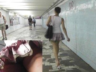 Youthful hotty in short petticoat upskirt