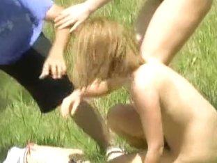 Two girls got naked in the park when bikini shark bites