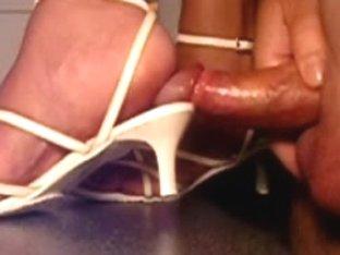 white heel sandals