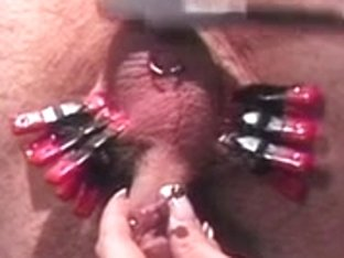 Female-Dom punishes her serf in the dungeon with whipping and CBT