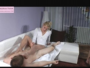 Golden-Haired Headmistress legjob and cook jerking with ejaculation