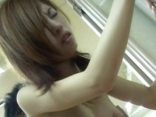 Busty Japanese babe nailed deep and hard on the sofa