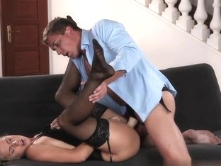 Babe in black stocking and suspenders gets DP from cock