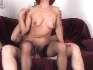 Hairy mature redhead gets an anal creampie
