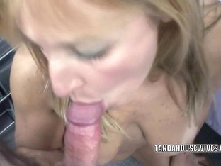 Aged golden-haired Liisa in underware and swallowing a inflexible schlong