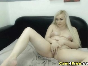 Lovely White Hair Babe Rubs her Tight Pussy