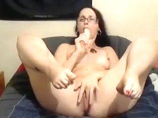 Nerdy dark brown hair white girl on web camera and her big marital-device