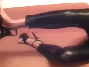 My hot GF looks very tempting in her tight leather panties and high heels