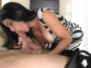 Juliana is making truly juicy deepthroat blowjob for her boss
