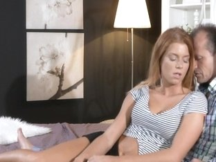 Older dude creampied hot redhead slut