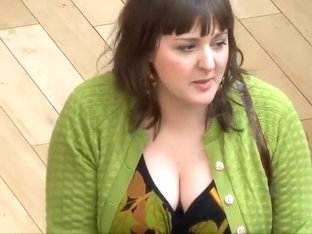 Big busty lady spied while selling hats