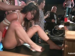 Smoking hot Brunette Humiliated and Fucked in Public