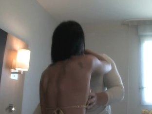 Black haired French babe with big tits fucking a cock