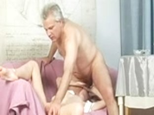Old man fucking young girl in her shaven slit