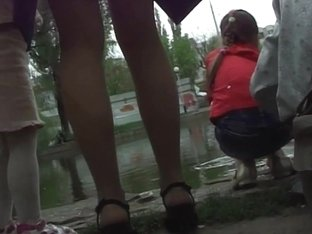 Hot teen public  upskirts by the lake with sexy teen babe
