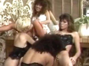 Girls in hot lingerie group licking