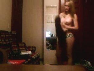 Blonde teen stripping
