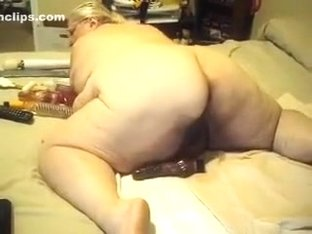 Nasty and filthy SSBBW plugs dildos in her dirty big pussy