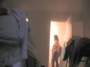 Home voyeur camera shooting my sexy wife undressing