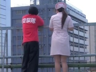 Sweet nurse got her uniform sharked on the balcony